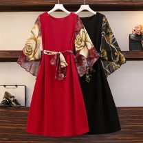 Women's large Spring 2021 Red [dress design niche], black [skirt French retro niche], [tea break French dress], [dress 2021 new spring], [advanced dress] Dress singleton  commute easy moderate Socket Long sleeves Decor Korean version Crew neck Three dimensional cutting routine Z71550204 longuette