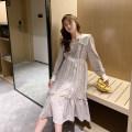 Dress happymaman Apricot, black M,L,XL Korean version Long sleeves Medium length spring Decor