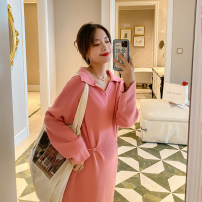 Dress happymaman Pink, black, oatmeal Average size Korean version Long sleeves routine winter Solid color