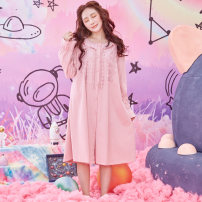 Pajamas / housewear set female Chylirn / Qian Liang 155(S) 160(M) 165(L) 170(XL) 06355 nightdress 6355 set cotton Long sleeves Sweet Leisure home autumn routine Crew neck Solid color trousers Socket youth 2 pieces rubber string More than 95% pure cotton Lotus leaf edge 260g Cotton 100% Autumn of 2019