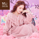 Nightdress Chylirn / Qian Liang 08974 embroidered strawberry [main picture] 08963 strawberry 08964 08958 08956 blue bow 08961 bean paste 08961 haze blue 08971 fog pink 08968 pink rabbit 08981 pink purple bear 155(S) 160(M) 165(L) 170(XL) Long sleeves Leisure home Cartoon animation youth Hood 380g yes