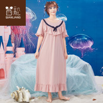 Nightdress Chylirn / Qian Liang Picture color 160(M) 165(L) 170(XL) Simplicity Short sleeve Leisure home longuette summer Solid color youth Crew neck cotton bow More than 95% Knitted cotton fabric 260g Summer of 2018 Cotton 100% Pure e-commerce (online only)