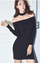 Dress Autumn of 2019 black S,M,L Short skirt singleton  Long sleeves commute stand collar middle-waisted Solid color Socket One pace skirt routine Hanging neck style Type H Inkstone forest Korean version 81% (inclusive) - 90% (inclusive) knitting modal