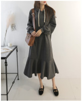 Dress Autumn of 2019 S,M,L longuette singleton  Long sleeves commute Hood Loose waist Solid color Socket routine Inkstone forest Korean version Flocking, lace up cotton