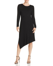Dress Spring 2021 black S,M,L Mid length dress singleton  Long sleeves commute Crew neck middle-waisted Solid color Socket A-line skirt routine Others Type A Inkstone forest Korean version Swallow tail More than 95% knitting cotton