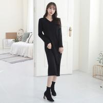 Dress Autumn of 2019 Black, light grey S,M,L longuette singleton  Long sleeves commute V-neck Solid color Socket Inkstone forest Korean version