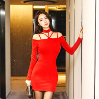 Dress Spring 2021 Black, red S,M,L Short skirt singleton  Long sleeves commute stand collar middle-waisted Solid color Socket One pace skirt routine Hanging neck style Type H Inkstone forest Korean version More than 95% knitting modal