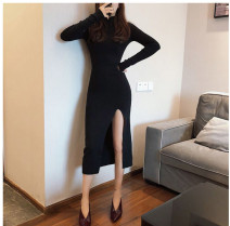 Dress Spring 2021 black S,M,L Mid length dress singleton  Long sleeves commute High collar middle-waisted Solid color Socket One pace skirt routine Type H Inkstone forest Korean version