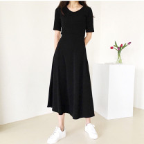 Dress Spring 2021 Black, light grey S,M,L longuette singleton  elbow sleeve commute V-neck middle-waisted Solid color Socket Big swing routine Others 25-29 years old Inkstone forest Korean version More than 95% knitting modal