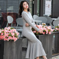 Dress Spring 2021 S,M,L longuette singleton  Long sleeves commute Crew neck middle-waisted Solid color Socket Big swing routine Inkstone forest Korean version Flocking 91% (inclusive) - 95% (inclusive) other cotton
