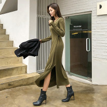 Dress Spring 2021 Black, dark grey, army green S,M,L longuette singleton  Long sleeves commute V-neck middle-waisted Solid color Socket routine Inkstone forest Korean version