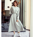 Dress Spring 2021 S,M,L longuette singleton  Long sleeves commute Crew neck middle-waisted Solid color Socket Big swing routine Inkstone forest Korean version 81% (inclusive) - 90% (inclusive) cotton