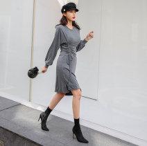 Dress Spring 2021 Black, dark grey S,M,L singleton  Long sleeves commute Crew neck middle-waisted Solid color Socket Irregular skirt Type H Inkstone forest Korean version
