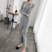 Dress Spring 2021 S,M,L longuette singleton  Long sleeves commute Crew neck middle-waisted Solid color Socket One pace skirt routine Inkstone forest Korean version