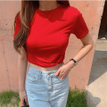 T-shirt Black, red S,M,L Spring 2021 Short sleeve Self cultivation Super short routine commute modal  96% and above Korean version classic Solid color Inkstone forest