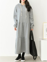 Dress Spring 2021 Black, light grey S,M,L longuette singleton  Long sleeves commute Hood Loose waist Solid color Socket routine Inkstone forest Korean version 81% (inclusive) - 90% (inclusive) knitting cotton