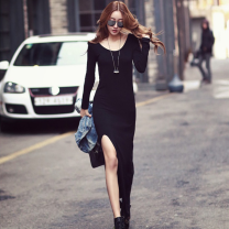 Dress Spring 2021 Black, black thickened, red thin Xinjiang and Tibet need to pay 10 yuan freight, s-125cm, m-130cm, l-135cm, xl-140cm longuette singleton  Long sleeves street Crew neck middle-waisted Solid color Socket One pace skirt routine Others Type H Inkstone forest More than 95% other modal