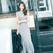 Dress Spring 2021 Black, light grey S,M,L longuette singleton  commute Crew neck middle-waisted Solid color Socket Ruffle Skirt Type H Inkstone forest Korean version 91% (inclusive) - 95% (inclusive) other modal