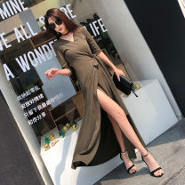 Dress Spring 2021 White, black, army green S,M,L longuette singleton  three quarter sleeve street V-neck middle-waisted Solid color other A-line skirt routine Others Inkstone forest Bandage 91% (inclusive) - 95% (inclusive) other cotton