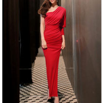 Dress Spring 2021 Red, black S,M,L longuette singleton  Long sleeves commute Slant collar middle-waisted Solid color Socket One pace skirt Bat sleeve Oblique shoulder Type H Inkstone forest Korean version 91% (inclusive) - 95% (inclusive) other modal