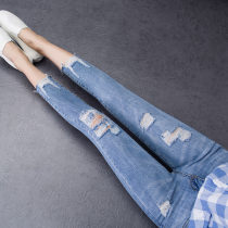 Jeans Autumn of 2018 blue 26 27 28 29 30 31 32 Ninth pants Natural waist Pencil pants routine 18-24 years old Worn out, washed and whitened Cotton elastic denim light colour three thousand one hundred and six 71% (inclusive) - 80% (inclusive)