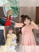 Dress Pink, yellow, red female Other / other 90cm,100cm,110cm,120cm,130cm Other 100% summer Korean version Short sleeve Dot Cotton blended fabric Class B 13 years old