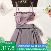 one piece  special counter M,L,XL violet Skirt one piece With chest pad without steel support female Sleeveless Casual swimsuit Solid color Lotus leaf edge