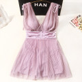 one piece  Xuan Zhiqi M,L,XL,XXL Smoke Pink Skirt one piece Steel strap breast pad female Sleeveless Solid color Pleating