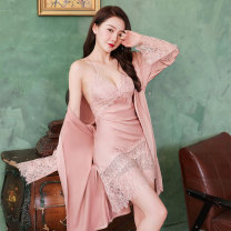 Nightgown / bathrobe Other / other female M, l, XL 21912 new slanting robe two sets of white, 21912 new slanting robe two sets of black, 21912 new slanting robe two sets of lake blue, 21912 new slanting robe two sets of orange, 21912 new slanting robe two sets of jujube Thin money sexy summer silk