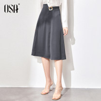 skirt Spring 2021 XS S M L XL XXL dark grey Mid length dress commute High waist A-line skirt Solid color Type A 25-29 years old S121QB51004 More than 95% Wool OSA other Button resin fixation Ol style Other 100%