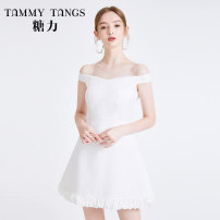 Dress Summer 2020 white XS S M L Short skirt singleton  Sleeveless commute One word collar High waist Solid color zipper A-line skirt 25-29 years old Type X Tammy Tang / Tangli lady Lotus leaf edge More than 95% polyester fiber Polyester 100% Same model in shopping mall (sold online and offline)