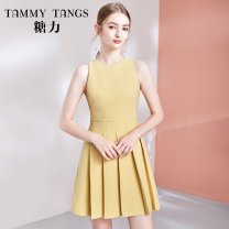 Dress Autumn 2020 Yellow  XS S M L Short skirt singleton  Sleeveless commute Crew neck High waist Solid color zipper Pleated skirt routine 25-29 years old Type X Tammy Tang / Tangli lady zipper T20QQ45005 81% (inclusive) - 90% (inclusive) polyester fiber