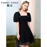 Dress Summer 2021 Naked black XS S M L XL Short skirt singleton  Short sleeve commute square neck High waist Solid color Socket A-line skirt puff sleeve 25-29 years old Type X Tammy Tang / Tangli lady Bowtie 31% (inclusive) - 50% (inclusive) nylon Same model in shopping mall (sold online and offline)