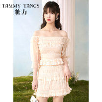 Fashion suit Summer 2021 XS S M L Melon light orange 18-25 years old Tammy Tang / Tangli T21XU51044 Polyester 89.6% polyurethane elastic fiber (spandex) 10.4% Same model in shopping mall (sold online and offline)