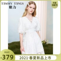 Dress Summer 2021 Magic snow white XS S M L XL Short skirt singleton  Short sleeve commute V-neck High waist Solid color zipper A-line skirt puff sleeve 25-29 years old Type X Tammy Tang / Tangli lady Gouhua hollow out bandage 30% and below polyester fiber