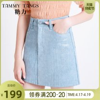 skirt Winter of 2019 XS S M L Denim blue Short skirt commute High waist A-line skirt Solid color Type A 25-29 years old T19DN24784 More than 95% Tammy Tang / Tangli cotton Sequins Simplicity Cotton 100% Pure e-commerce (online only)