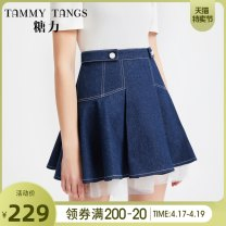 skirt Summer 2020 XS S M L Denim blue Short skirt commute High waist Umbrella skirt Solid color Type A 25-29 years old 81% (inclusive) - 90% (inclusive) Denim Tammy Tang / Tangli cotton Simplicity Same model in shopping mall (sold online and offline)