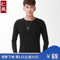 T-shirt Fashion City routine RenFeng Long sleeves Crew neck Self cultivation Other leisure autumn Cotton 95% polyurethane elastic fiber (spandex) 5% youth routine Simplicity in Europe and America Cotton wool Autumn of 2019 Solid color other cotton other No iron treatment Fashion brand More than 95%