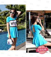 one piece  Jinhong M,L,XL,XXL Black, red, lake blue Skirt one piece With chest pad without steel support Nylon, polyester female Short sleeve Casual swimsuit Solid color, letter Hollowing out