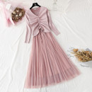 Dress Autumn of 2019 Apricot, black, blue, pink S,M,L,XL longuette Two piece set Long sleeves commute V-neck High waist Solid color Socket Pleated skirt routine Type A Korean version Bows, ruffles, pleats, lace, gauze knitting