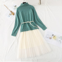 Dress Winter of 2019 Green, apricot, pink S,M,L,XL longuette Two piece set Long sleeves commute Crew neck High waist Solid color Socket Big swing routine Type H Korean version Fold, tie, tie, gauze knitting