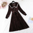 Dress Spring 2021 Black, brown S,M,L,XL longuette singleton  Long sleeves commute Polo collar Loose waist Solid color Single breasted Big swing routine Type A Korean version Bows, ruffles, hollows, folds, Gouhua, hollows, lace, stitching, bandages More than 95%
