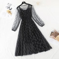 Dress Spring 2021 S,M,L,XL longuette Two piece set Long sleeves commute V-neck High waist Solid color zipper Big swing routine camisole Type A Korean version More than 95% Lace
