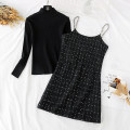 Dress Spring 2021 black S,M,L,XL Short skirt Two piece set Long sleeves commute Half high collar High waist lattice zipper A-line skirt routine camisole Type A Korean version Silk, chain, Sequin, zipper Wool