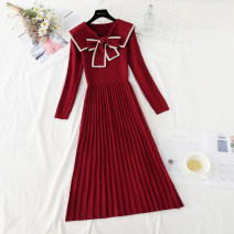 Dress Spring 2021 Blue, apricot, black, red S,M,L,XL longuette singleton  Long sleeves commute Doll Collar High waist Solid color Socket Pleated skirt routine Type A Korean version Bows, hollows, tucks, folds knitting