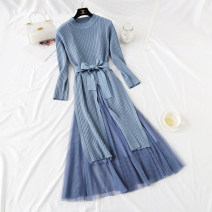 Dress Spring 2021 Blue, apricot, gray, black, pink S,M,L,XL longuette Two piece set Long sleeves commute Crew neck Loose waist Solid color Socket Big swing routine Type A Korean version Bowknot, lace, stitching, bandage, mesh, lace knitting