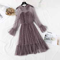 Dress Spring 2021 S,M,L,XL Mid length dress Fake two pieces Long sleeves commute Doll Collar High waist Solid color A button Ruffle Skirt pagoda sleeve Type H Korean version Lace