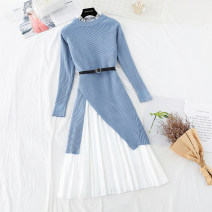 Dress Winter of 2018 Blue, apricot, black, green, pink, khaki, scarlet, coffee S,M,L,XL longuette Two piece set Long sleeves commute Lotus leaf collar Loose waist Solid color Socket Pleated skirt routine Type A Korean version Ruffles, ruffles, folds, Auricularia auricula, lace, lace, gauze net, lace