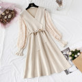 Dress Spring 2021 S,M,L,XL Mid length dress Fake two pieces Long sleeves commute V-neck High waist Solid color Socket A-line skirt puff sleeve Type A lady knitting