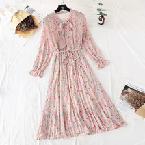 Dress Spring 2021 S,M,L,XL,2XL,3XL longuette singleton  Long sleeves commute Crew neck Loose waist Broken flowers Socket Pleated skirt pagoda sleeve Type H Korean version Bowknot, flounce, tuck, fold, lace, bandage More than 95% Chiffon